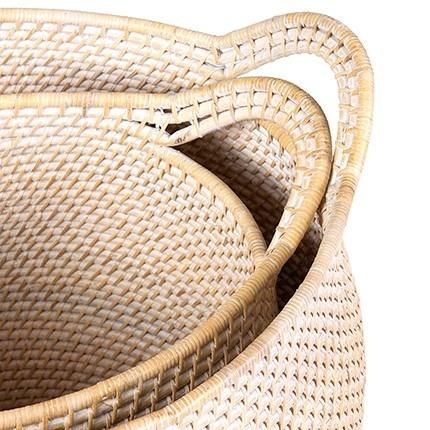 Set of 2 Sedona Rattan Nesting Storage Baskets  with handles