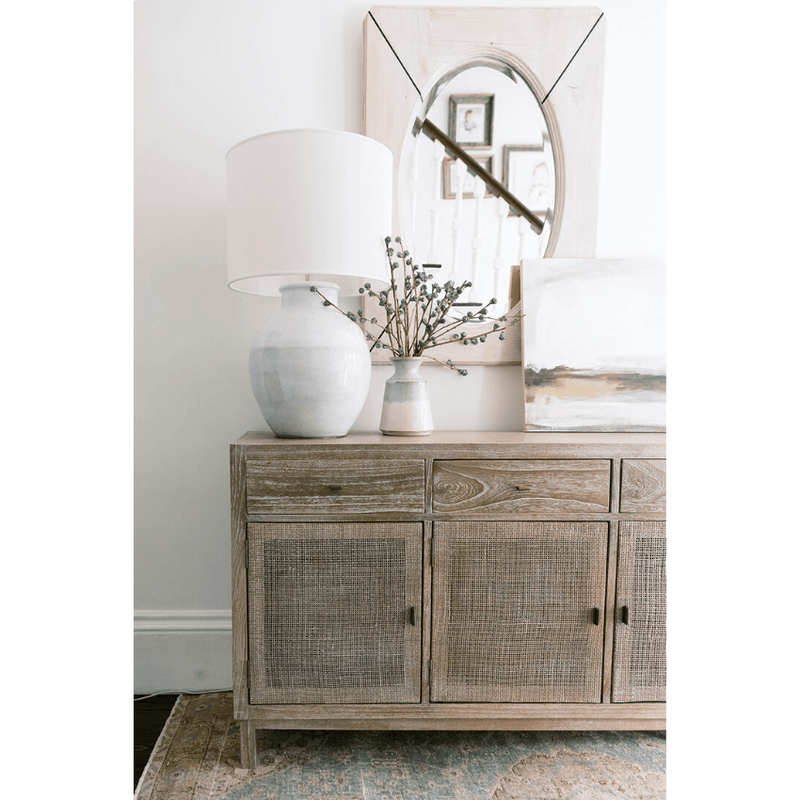 Rustic Wood Cabinet with Woven Doors