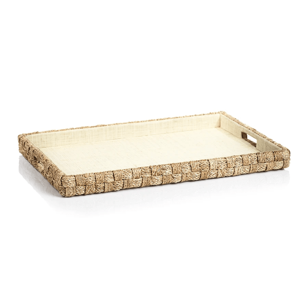 Abaca Rope Large Rectangular Decorative Serving Tray