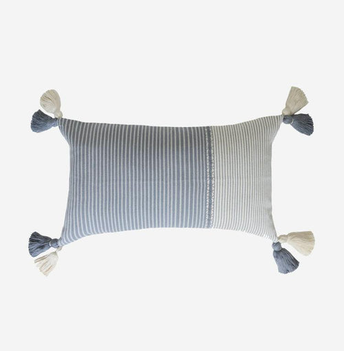 Steel Blue Guatemalan Randa Pillow with Tassels
