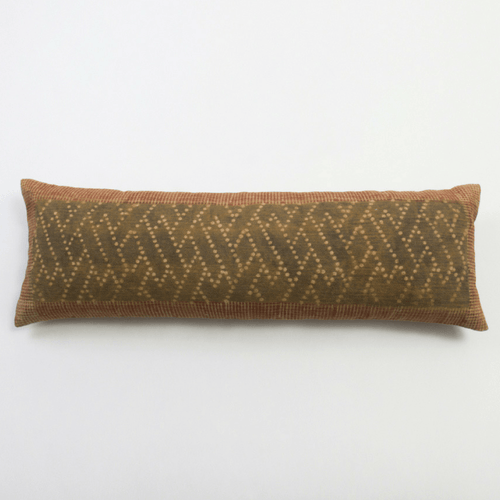 Zenda XL Bolster Amity Home Olive and Rust block print cotton extra long lumber pillow for bed
