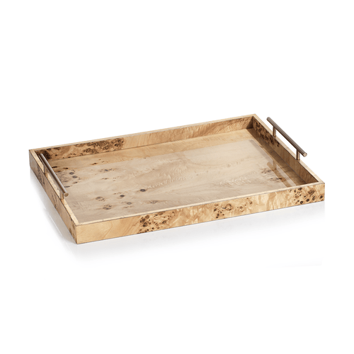 Rectangular Burl Wood Serving Tray with Gold Metal Handles VT-1284