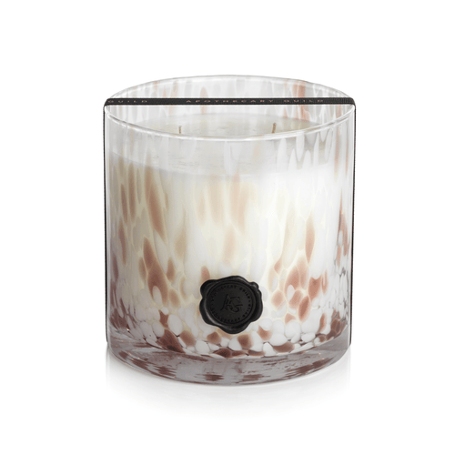 Taupe Rio de Janeiro Zodax slow burn three wick gift candle in speckled brown and white glass jar with matches