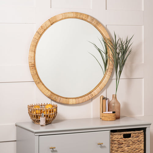 Teva Large Round Wrapped Natural Rattan Mirror