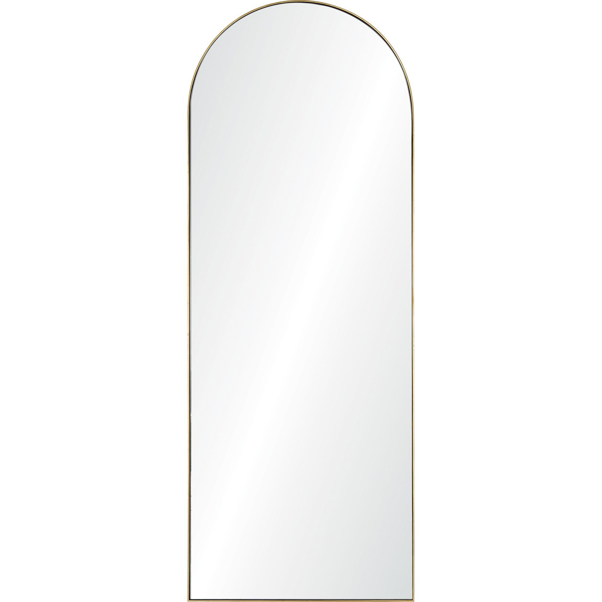 Thatcher Renwil Arched Floor Mirror with thin gold leaf frame full length rounded top