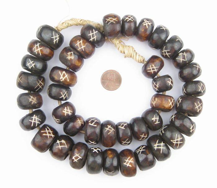 Size of Brown Bone African Styling Beads