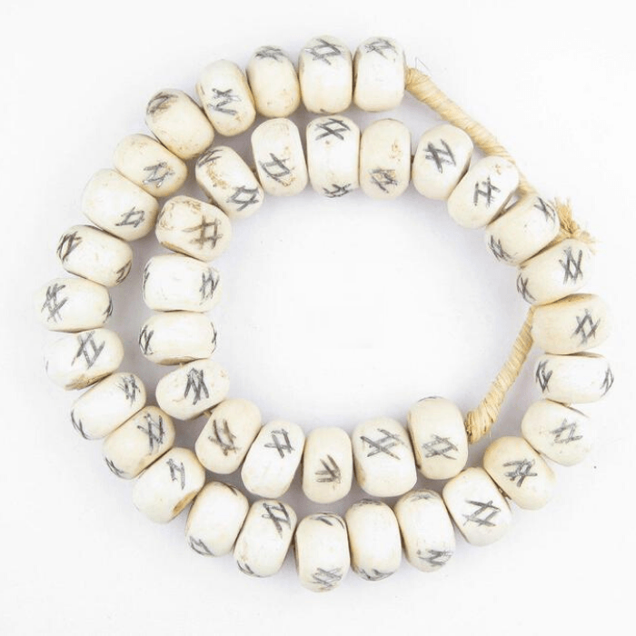 Tic-Tac-Toe White Carved Decorative African Beads