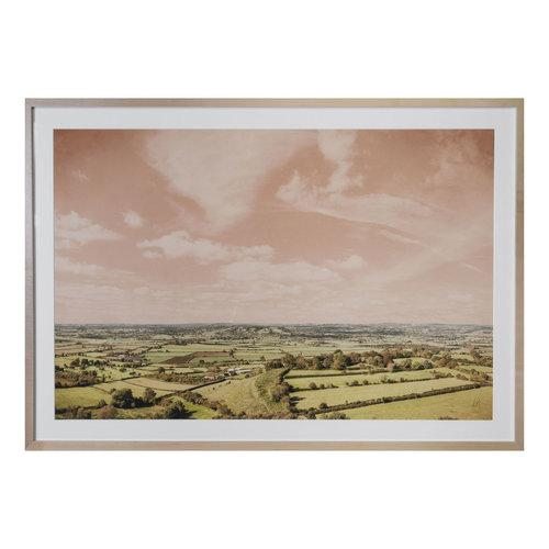 Tinted Landscape Grand Image Home - Green Fields and Pink Sky framed in natural wood