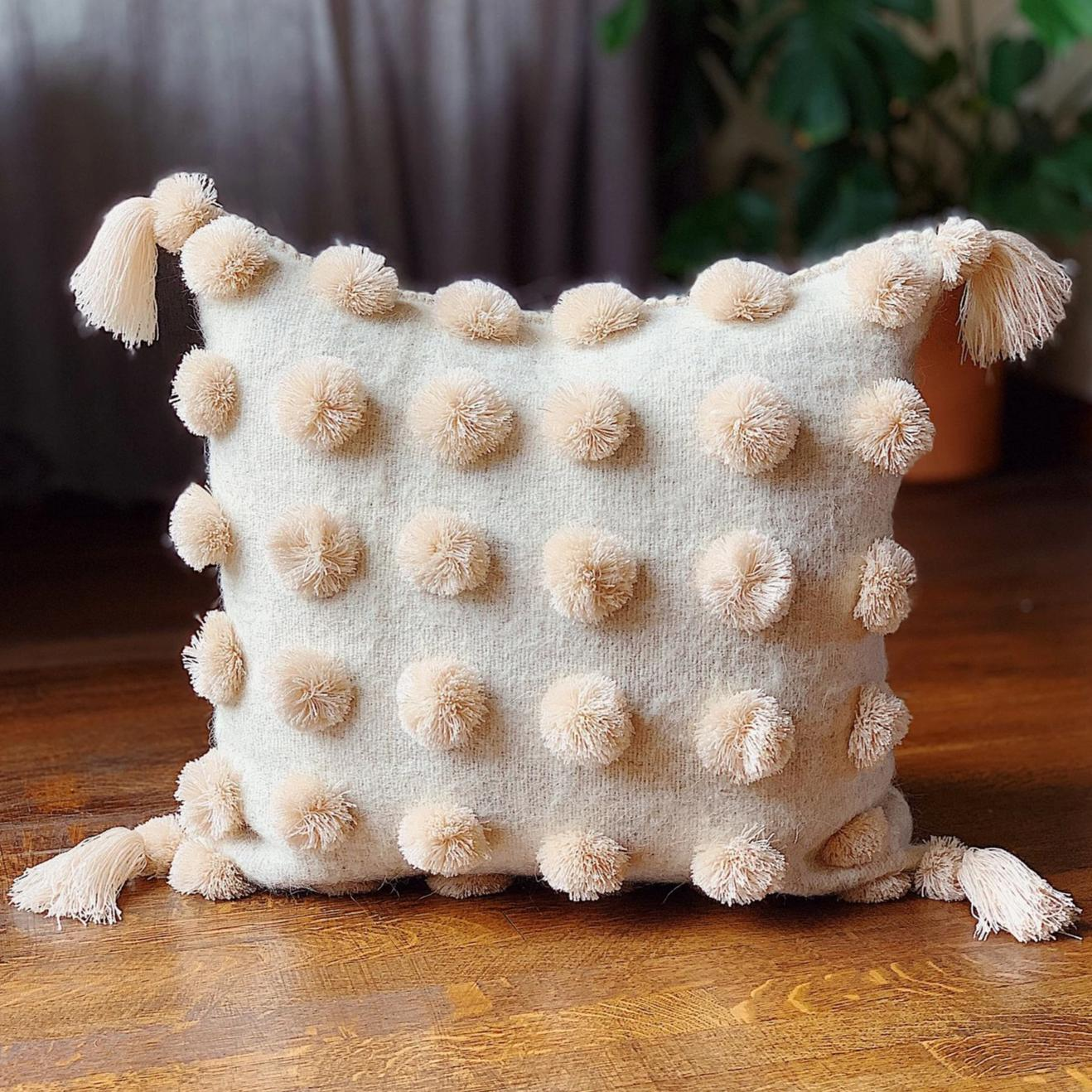 Cream Color Pom Pom Pillow with Tassels