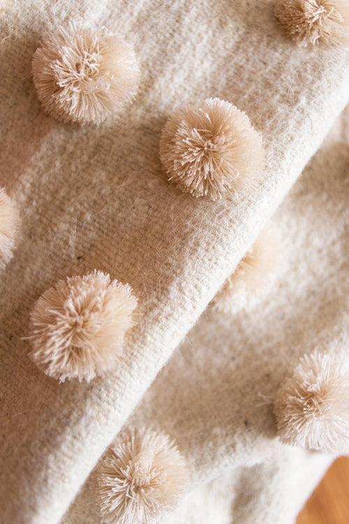 Cream Color Pom Pom Throw with Corner Tassels