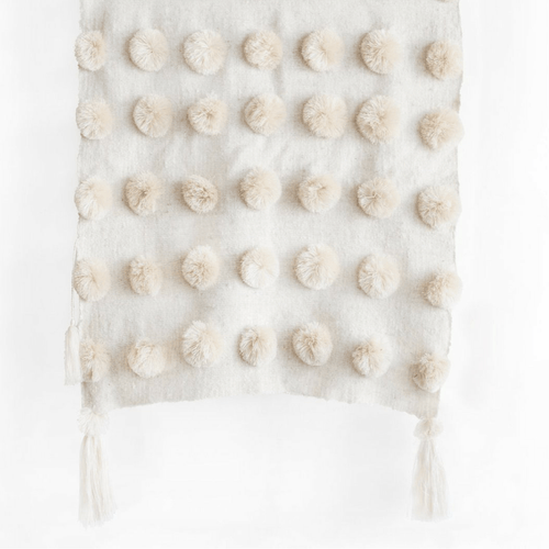 Ula Natural Cream Pom Pom Blanket with Tassels- Bed Runner/Throw