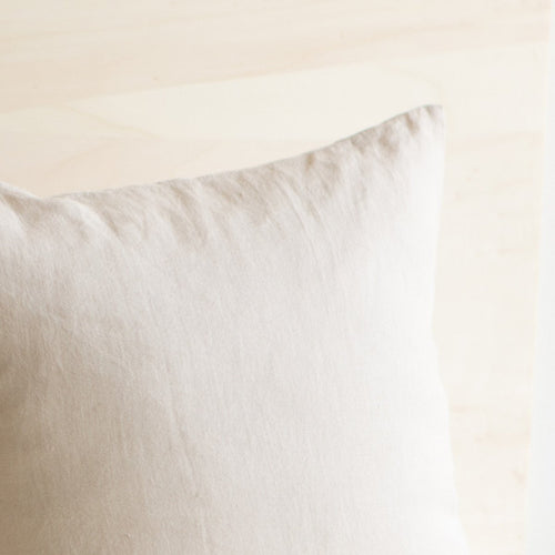 Washed Linen Long Lumbar Pillow in Light Natural Neutral Taupe Beige Color for Bed