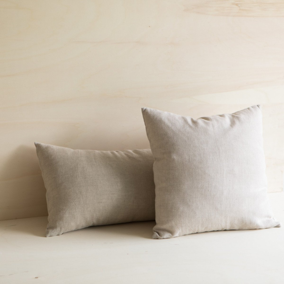 Washed Linen Neutral Natural Taupe Light Brown Square and Long Lumbar Accent Pillow