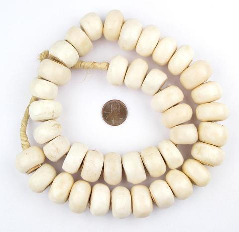 Large Natural White Bone Beads