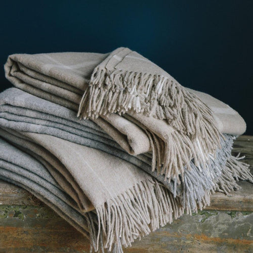 Evangeline Oatmeal windowpane throw in 100% merino wool