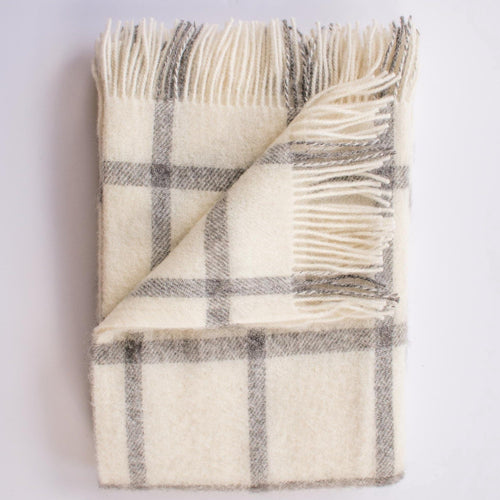 windowpane pattern white and black 100% merino wool blanket with fringe