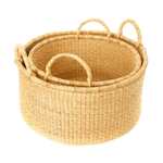 Natural Woven Grass Large Storage Baskets - Set of 2