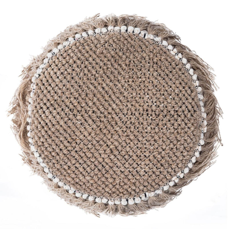 Round Fringed Pouf in tan, black and white