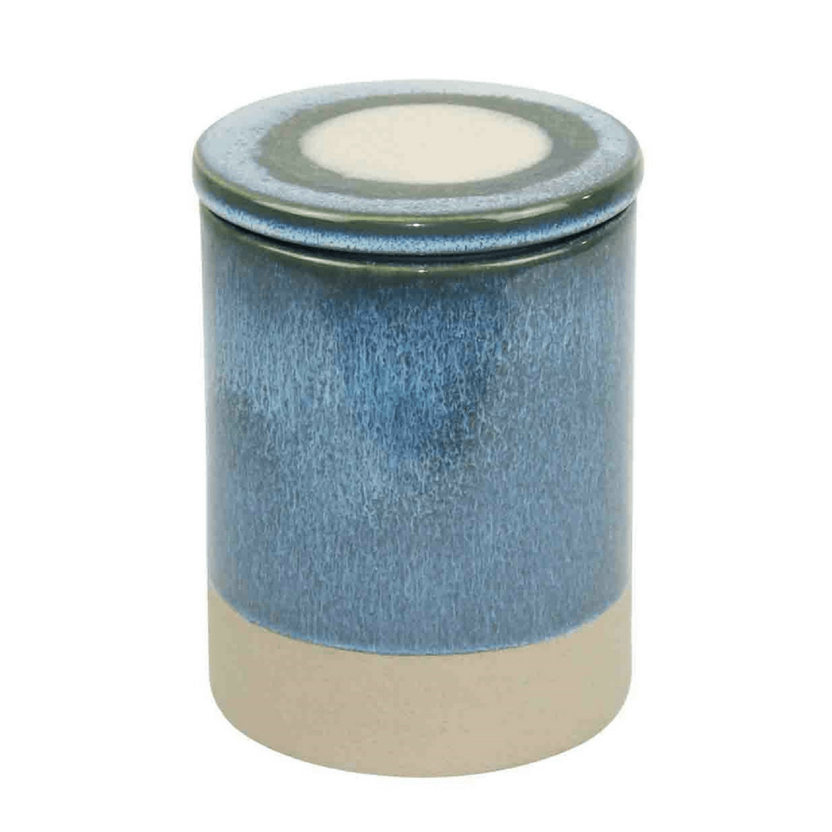 Blue and Purple Glazed Ceramic Canisters - Set of 2 with Lids