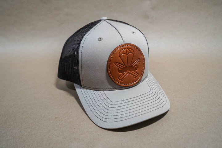 Khaki Leather Patched Hat