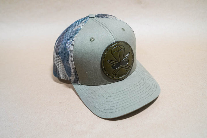 Green Camo Leather Patched Hat