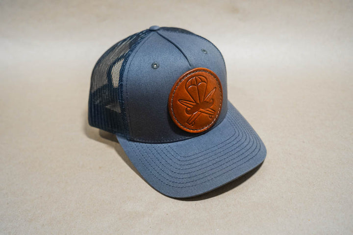 Blue Leather Patched Hat