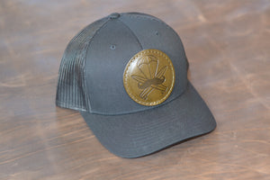 Black Leather Patched Hat
