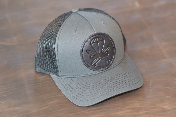 Grey Leather Patched Hat