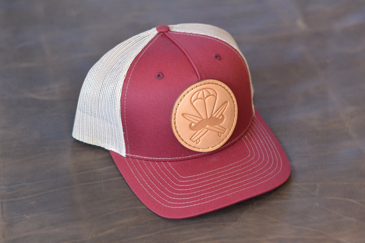 Crimson Leather Patched Hat