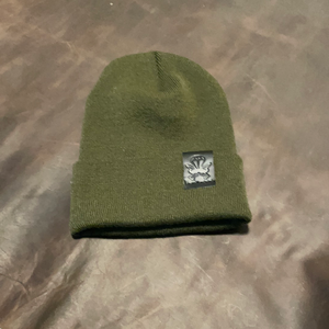 Green Knit Beanie - Black Patch