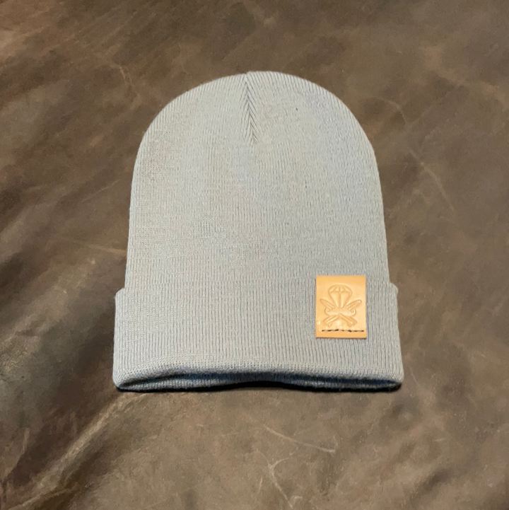Grey Knit Beanie - Natural Patch