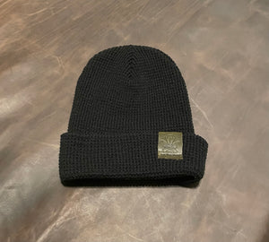Black Waffle Beanie - Green Patch