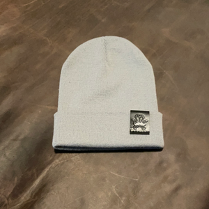 Grey Knit Beanie - Black Patch