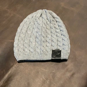 Grey Woven Beanie - Black Patch