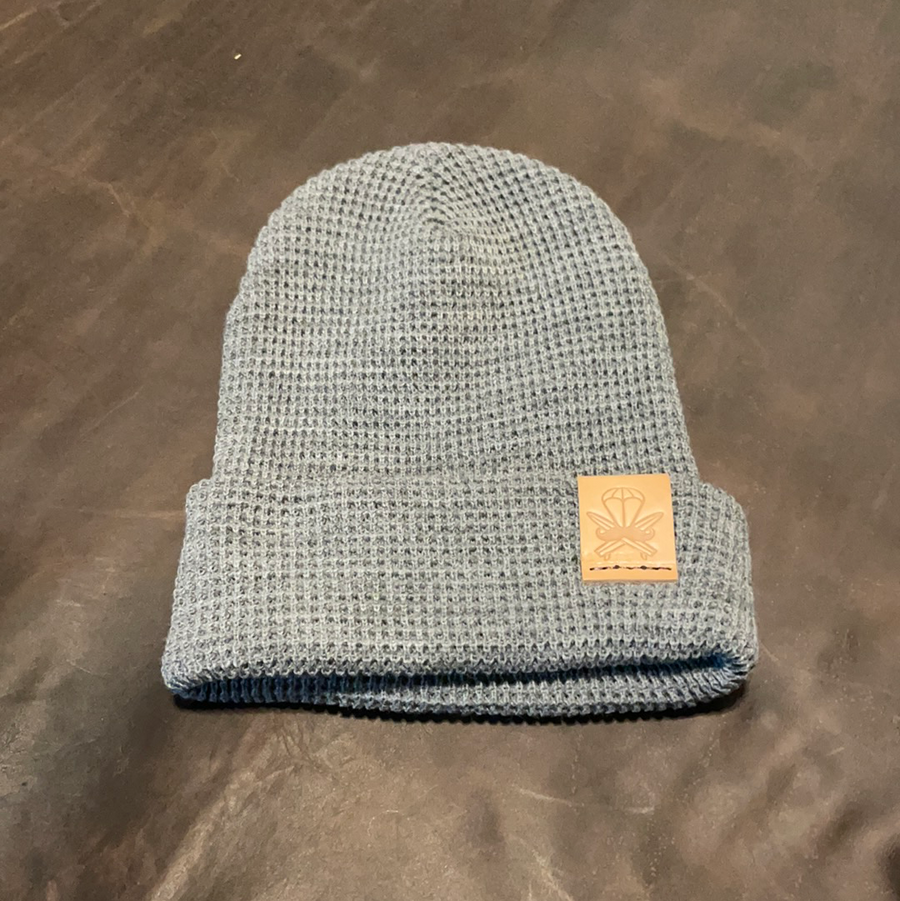 Grey Waffle Beanie - Natural Patch