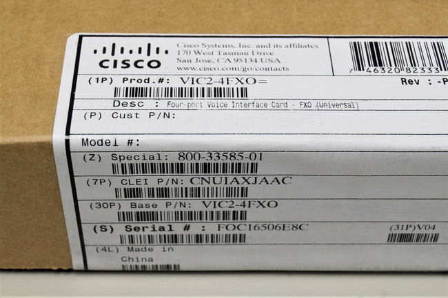 CISCO VIC2-4FXO Four-port Voice Interface Card FX - New Factory Sealed