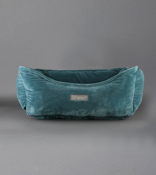 MICRO PLUSH REVERSIBLE DOG BED TEAL