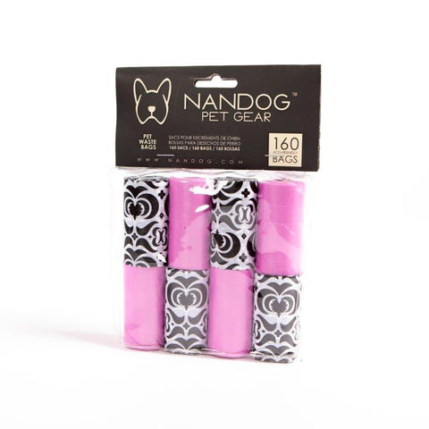 Pink Damask Waste Bags (8-Pack) - NANDOG PET GEAR