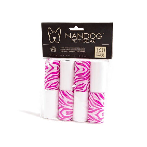 Pink & White Zebra Poop Bags (8-Pack) - NANDOG PET GEAR