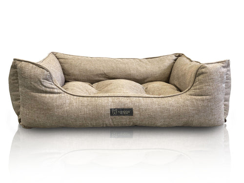 POPLIN LARGE REVERSIBLE DOG BED TAN