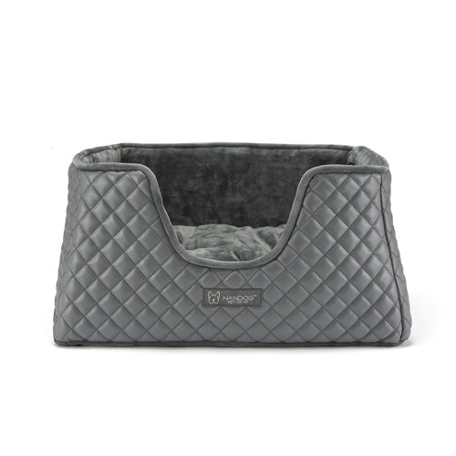 QUILTED FAUX LEATHER GRAY & GRAY CUBE BED