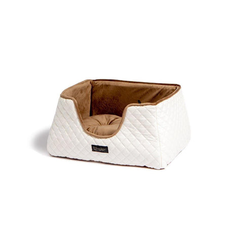 Quilted Faux Leather White and Brown Cube Bed - NANDOG PET GEAR