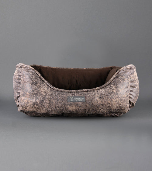 VINTAGE REVERSIBLE DOG BED BROWN