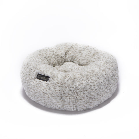White and Brown Calming Shaggy Bed - NANDOG PET GEAR