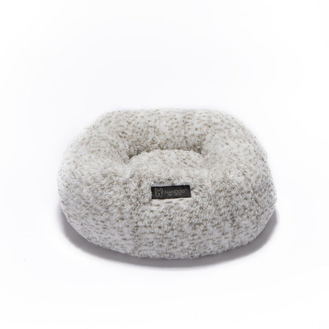 White and Brown Shaggy Bed - NANDOG PET GEAR