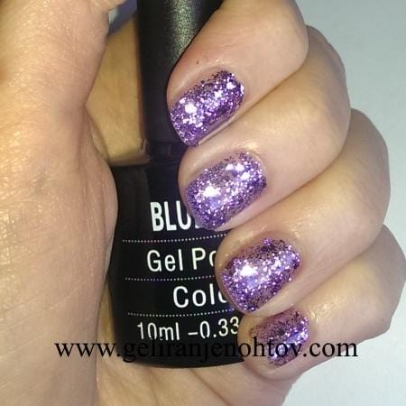 UV/LED gel-lak (DC04/ Purple diamond), 10 ml - Praznična viola z bleščicami