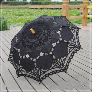Battenburg Lace Embroidered Bridal Umbrella (White, Red, Black or Ivory/Beige)