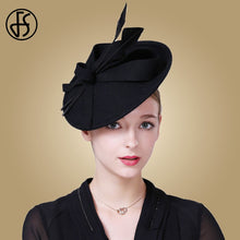 FS Fascinator - Elegant Wool Felt Pillbox Hat (Blue / Black / Red)