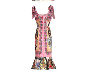 LINDA DELLA Fashion Designer Runway Look - Spaghetti Strap Vintage Floral Print Mermaid Sheath Party Dress