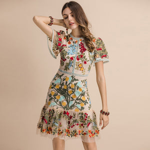 LINDA DELLA Runway Look - Flare Sleeve Floral Embroidered Elegant Mesh Hollow Out Midi Dress